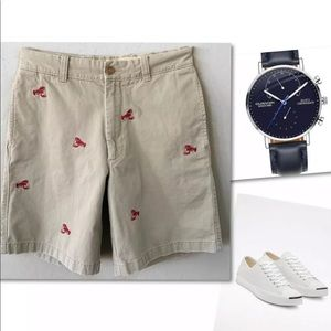 J.CREW NOVELTY EMBROIDERED LOBSTER SHORTS 30